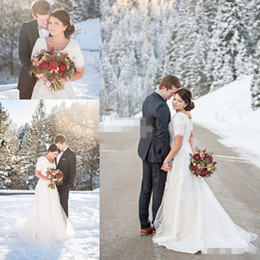 Wholesale Custom Snow - 2015 Snow Winter Plus Size Wedding Dresses Short Sleeve Scoop Lace A-Line White Satin Chapel Train Covered Button Custom Made Wedding Gowns