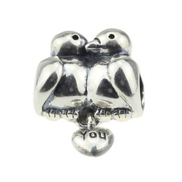 Wholesale perfect hole - Beads Hunter Jewelry Authentic 925 Sterling Silver Perfect Love Birds Charm fashion big hole bead For 3mm European Bracelet snake chain