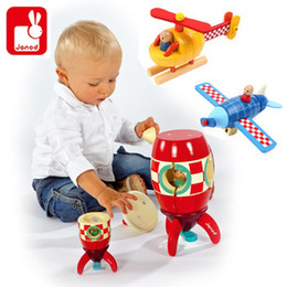 Wholesale Wooden Toys Magnets - Janod kit magnet wooden magnetic combined child early learning toy,Blue plane Red rocket Yellow helicopter for kids best gifts