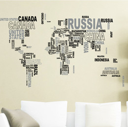 Wholesale world map sticker decal - Removable Letter World Map Decal Art Mural Home Decor Wall Stickers New Home Decoration Wall Quote Stickers poster