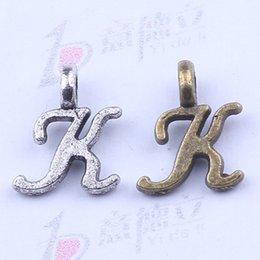 Wholesale Antique K - 2016 hot selling A-Z Alphabet letter K charms floating antique silver Bronze plated metal alloy 1500pcs lot 2333