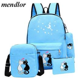 1c20acd37ab Fashion 4 Set Schoolbag Unisex Korean Rucksack Girl Shoulder Bag Cute Cat  Print Backpack For Teenager Travel Backpacks Six Color