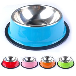 Wholesale Puppy Drinking Water - Pet Products Colorful Stainless Steel Dog Feeding Bowl Cat Puppy Food Drink Water Dish Size XS-XXL