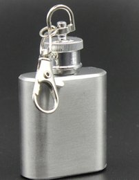 Wholesale Wholesale Damascus Steel - 1oz stainless steel mini hip flask with keychain Portable party outdoor wine bottle with Key chains