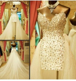 Wholesale Strapless Wedding Dresses Detachable - 2015 Sparkling Luxury Detachable Train Wedding Dresses Sweetheart Rhinestones Crystals Bow Sequins Tulle Hot Bridal Gowns Custom Made