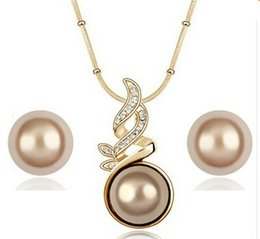 Wholesale Orange Pearl Bracelet - 18K Gold Plated Crystal Lover Vintage Ball Pearl Jewelry Sets Whole sales Fashion Jewelry for women