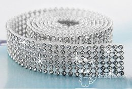 Wholesale Trim For Wedding Cakes - Free Shipping 6 Rows hotfix Rhinestone Mesh Trim Crystal in Silver Base with Back Glue for Bridal Dress,Cake,Wine and Wedding