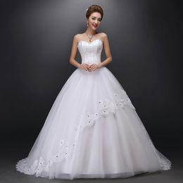 Wholesale Tube Top Slim Wedding Dress - 2015 slim bandage train wedding dress with diamond brief tube top lace wedding dress formal dress puff skirt