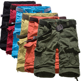 Wholesale Cheap Army Pants - Wholesale-Mens Military Cargo Shorts New Brand New Army Camouflage Shorts Men Cotton Loose Work Casual Short Pants Plus Size 4color Cheap