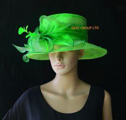 Yeni varış Yeşil kilise elbise Organze şapka fascinator düğün için, Kentucky derby, parti, yarışlar, ücretsiz kargo nereden