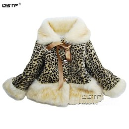Wholesale Girls Leather Leopard Jacket - Wholesale-Children thick winter jacket new Fur Leather grass girls leopard coat1lot1piece