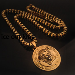 Wholesale 24k Plated Red Gold - Hot! Hip Hop Medusha Headcount Pendant Necklace With Corn Chain 24K Gold Plated, big and small pendants hign quality and free shipping