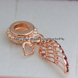 Wholesale Dangle Wing - 925 Sterling Silver & Rose Gold plated Angel Wing Dangle Charm Bead Fits European Pandora Jewelry Bracelets & Necklaces Necklaces
