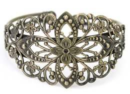 Wholesale Wholesale Bronze Filigree - Free Shipping Cuff Bracelets Vintage Bronze Filigree Flower Carved Floral Bangle Women's Cuff Bracelet 2016 NEW