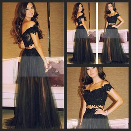 Wholesale Long Fashionable Party Dresses - robe de soiree Fashionable Two Piece Long Prom Dresses 2018 Sweetheart Off Shoulder Black Tulle Evening Gowns Sexy Party Dress