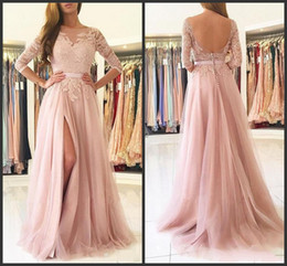 130adc490994e New Blush Pink Front Split Evening Dresses Modest 2017 Half Sleeves Lace  Appliques Tulle Long Prom Dress 2018 Custom Made 397 discount modest blush  prom ...