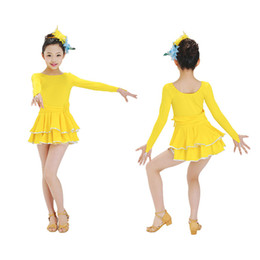 Wholesale Wholesale Ballroom Dress - 6pcs lot Girls Round Neck Silk Latin Dress Long Sleeves Dresses With Layered Hemline Ballroom CFlothings tls301