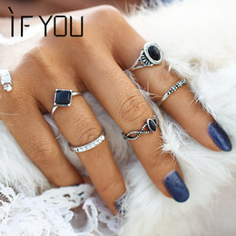 Wholesale Wholesale Lucky Ring Stone - Wholesale- IF YOU 2017 New Fashion Tibetan Black Stone Lucky Artificial Stone Crystal Midi Rings Midi Ring for Women Punk Rings Set Gift