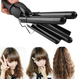 2015 New Women Best Gift Hair Styler&Curling Tong Ceramic 3-Barrel Waving Wand Hair Curler Roller Free Shipping Coupons