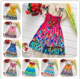 Wholesale Girls Petti Dresses - Girls Bohemia Floral Sling Dress Children flower printed Dresses Children summer beach cheap 100% cotton petti skirt girls clothes kids wear