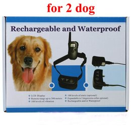 Wholesale Display Vibration - 2 dog Pet Dog Training Collar Rechargeable and Waterproof 300meters Remote Electric Shock Anti-bark with LCD display 20set lot