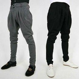 Wholesale Harem Pants Men Korean Fashion - Fashion Mens Korean Casual Pants Slim Fit Long Trousers Slacks Baggy Harem Blacks  Greys Pleated Free Shipping 4 Size