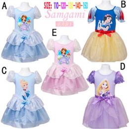 Wholesale Girls Party Dress Gauze - Bubble short sleeve cotton gauze princess Dress snow white Sofia Cinderella dress girl 2015 girls princess cosplay dress Party Dresses C001