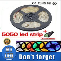 Wholesale Led Dc Wire Connectors - Waterproof SMD 5050 5M 300 Leds a roll Led light Strip Warm white White Red Yellow Blue Green led strips + DC connector- Merry Christmas.