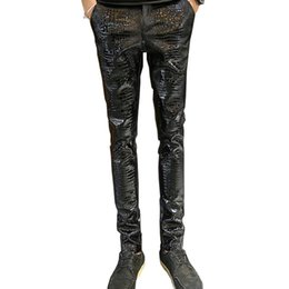 Wholesale Leather Pants Zippers Mens - Wholesale- MORUANCLE Mens Faux Leather Pants PU Motorcycle Ridding Suede Trousers Slim Fit Biker Leather Joggers For Male Size 28-36
