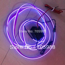 Wholesale El Wire Purple - 2 M lot EL Wire with drive 12V el cold light rays light clothes neon EL Strip Wire Rope Tube white green blue purple pink red