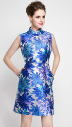 Wholesale Vintage Pattern Missing - Vintage Print Women A-Line Dress Stand Collar Sleeveless Party Dresses 0316010