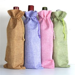 Wholesale Custom Drawstring Bags - Wholesale 14 colors 15 * 35cm Linen Drawstring wine red Bags wine bottle packaging jute red wine pouches custom logo