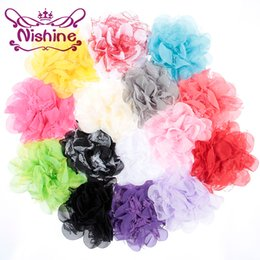 "Wholesale Hair Clip Backings Wholesale - Nishine Boutique 4"" Chiffon Lace Flower For Headband Hair Clips Fabric Flower Flat Back For DIY Headwear Hair Accessories"