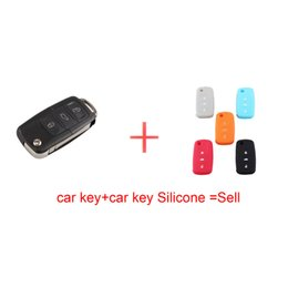 Wholesale Vw Key Fob Sticker - 3B Blade Remote Car Key Case Blade for VW Jetta Beetle Car Key Shell Fob Folding Flip Replacement Keyless with key Silicone