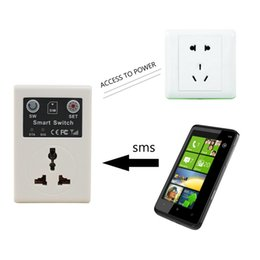 Wholesale Remote Gsm Controlled Power Socket - Lowest price 220v EU Plug Cellphone Phone PDA GSM RC Remote Control Socket Power Smart Switch interruptor switches Hot