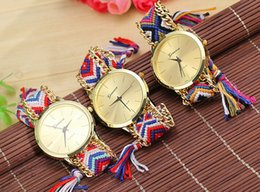 Wholesale Knitted Watch Band - Geneva handcrafted Woven quartz watch gold dial women teens casual sports colorful knit band wristwatches bracelet party festive gift EMS