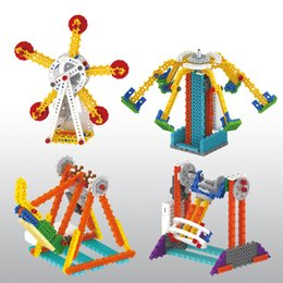 Wholesale Electric Wheels Kit - Electric Toys Pirate Ship Ferris Wheel Playground Building Blocks Educational Toys Kit For Children Gift Wholesale