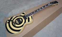 Wholesale Guitar Neck Style - Hot Selling Custom ART Zakk Wylde Maple Neck Black & Yellow with Style EMG Pickups Left handed Electric Guitar