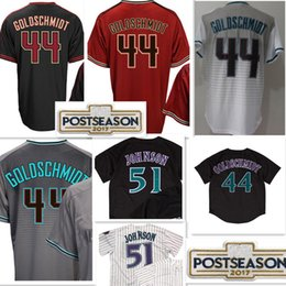 Wholesale high quality red wine - Arizona 44 Paul Goldschmidt 51 Randy Johnson Jersey High quality Men Retro 2017 Postseason Patch Baseball Jerseys