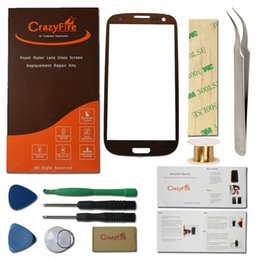Wholesale S3 Glass Replace - Wholesale-Brown New Replace Screen for Samsung Galaxy S3 III I9300 Outer Front Glass Top Lens Touch Screen Free Shipping+Tools Kits