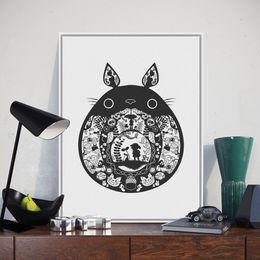 Wholesale kawaii deco - Nordic Black Kawaii Totoro Miyazaki Japanese Anime Poster A4 Big Modern Abstract Wall Art Picture Kids Room Deco Canvas Painting