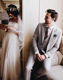 Wholesale Men Coats Checked - Latest Coat Pant Design Groom Tuxedos Groomsmen Slim Suits Fit Best Man Suit Wedding Mens Suits Groom Wear (Jacket+Pants+Vest)