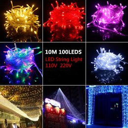 Wholesale Halloween Led Items - PROMOTION ITEMS! Big Discout 100 LEDS LED String Lights 10M 110V 220V for Clear Wire Christmas Decoration X'mas wedding party holiday lights