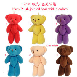Wholesale Holiday Teddy Bears - Wholesale-20Pcs Lot 12CM (4.7 inch) Jointed Bear PP Cotton Soft Teddy Bear Cartoon Bouquet Material Plush Doll Pendant Holiday Gifts