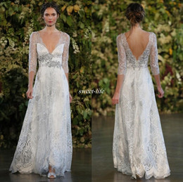 dress low straps back Coupons - Vintage 2019 Silver Lace Wedding Dresses A Line Plunging V-neck Open Low Back Beaded Belt Sheer Long Sleeves Floor Length Cheap Bridal Gowns