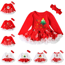 Wholesale Cheap American Wholesale Clothing - INS Baby Girls Christmas Dresses Lace Tulle TuTu Dress Romper With Bow Headband 2pcs Sets Kids Xmas Party Clothing Cheap Free DHL 559