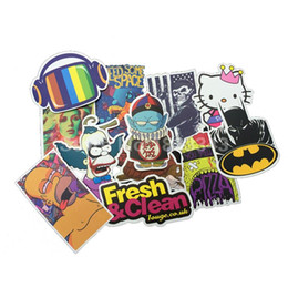Wholesale Cool Laptop Decals - Wholesale-100pcs Stickers Skateboard Snowboard Vintage Vinyl Sticker Graffiti Laptop Luggage Car Bike Bicycle Decals mix Lot Fashion Cool