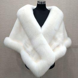 Wholesale winter wedding coats for bridesmaids - 2018 Winter Wedding Coat Bridal Faux Fur Wraps Warm shawls Outerwear Shrug Black White For Bride Bridesmaid team Women Jacket Prom