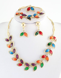 Wholesale Mixed Resin Beads - Fashion Gold Plate Colorful Resin Beads Chocker Collar Necklaces Bracelets Earrings Rings Jewelry Set Party Gifts