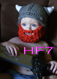 Wholesale Baby Pirate Caps - free shipping,80pcs Cute Gorgeous Handmade Knit Hat Cap Baby Toddler Photograph The vikings hat, pirates hat with beard for Christmas gift